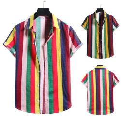 2021 아프리카 디자인 도매 남성용 반팔 줄무늬 프린팅 하와이 비치 셔츠(Size Beach 셔츠) 추가