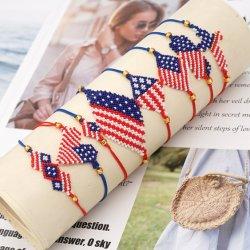 Mlgm America Flag 브라체렛 유니섹스 2021 유행을 선도하는 핸드메이드 미야키 비드 고급 귀금속 조정가능 로프 페레크 미국 보석 팔찌 배송 준비 완료