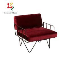 호텔 옥외 가구 빨간 우단 금속 프레임 동곳 다리 여가 소파 의자