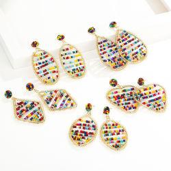 보하미안 패션 액세서리 손으로 만든 다채로운 베이즈 형상 드롭 스터드 귀걸이