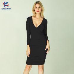 Commercio all'ingrosso 2021new Design Moda High Stretchy Rayon Cotton Blend Ladies/Lady Bodycon Western Wrap MIDI Sexy serata Prom Party vestito per Donna/Donna