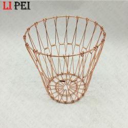 Fio de metal redonda decorativas peça preta Taça de armazenamento de cesta de frutas de cozinha