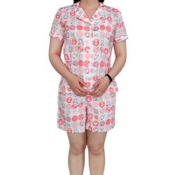 Short Sleeve Pajamas der Baumwolle 100% gedruckten Popelin-Dame für Sommer