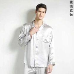 22mm 100%Silk Mens 은 긴 소매 잠옷
