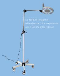 Huidonderzoek LED-vergrootglas en UV-lamp Wit licht KS-1088u Met metalen mobiele basis