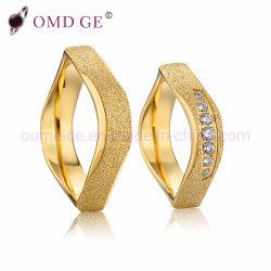 Todo o ouro onda única forma de Aço Inoxidável Bandas de casamento