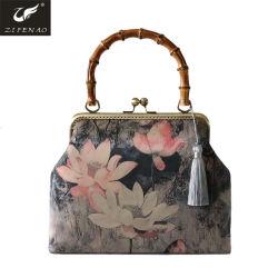 Poignée de bambou de haute qualité sac à main cuir synthétique femmes sac avec Lotus Pattern