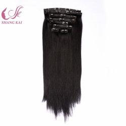 Venta caliente en línea recta perfecta Clip de Remy Hair Extension en Indian cabello humano.