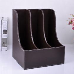 Archivo de forma marrón elegante caja de almacenamiento soporte con separadores de 3
