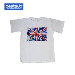 Poliestere e breve maglietta promozionale del manicotto mescolata cotone (JA402)