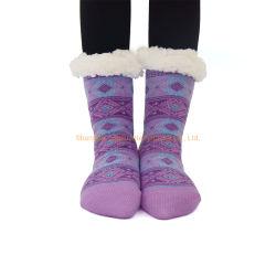 Adulto Calçado de Inverno Meias Sapata Térmica meias meias de estocagem meias grossas populares quente no inverno Térmica Anti Slip Home Chinelos Palavra meias de Natal Mulheres