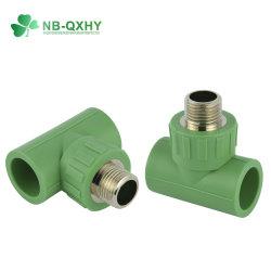PPR de haute qualité du raccord de tuyau à filetage mâle avec raccord en T pour l'eau chaude en laiton