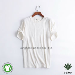 Maglietta rotonda ecologica del collo del cotone organico della canapa degli uomini (MST-180)