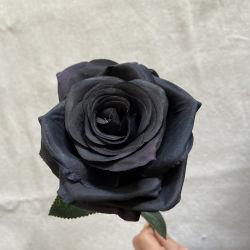 precio de fábrica Single Long Stem Rose artificiales de flores rosas negras