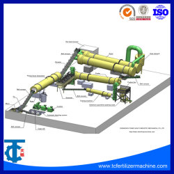 NPK肥料の小球形にする機械回転式ドラム造粒機の生産ライン