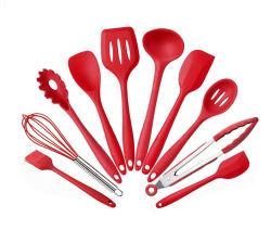 Cottura stabilita del cucchiaio del silicone dell'utensile della cucina di 10 PCS che cucina gli strumenti antiaderanti
