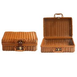 Vintage decorativas artesanal portátil de armazenamento de tecidos de cesta de vime