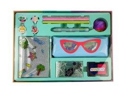 Los niños Diseño portátil con el sello de la bolsa de lápiz bolígrafo de tinta y lápiz y borrador en caja de regalo