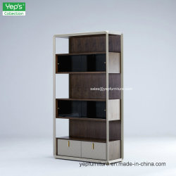 De microfibras de metal de madeira em estilo simples escritório Couro Estante Armário (YR220)