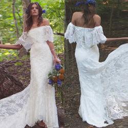 Hors de l'épaule robe de mariée en dentelle formelle robe de mariée Empire châle Boho H033