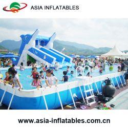 Grande Terra acima da estrutura de metal inflável piscina retangular