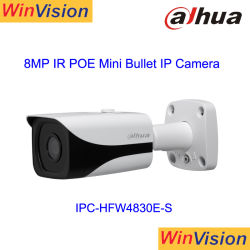 كاميرا IP بدقة 4K بوضوح عال كامل بدقة 8 ميجا بكسل، مسافة تحت الحمراء تبلغ 40 مترًا، وH، و265 برصاصة Smart CCTV iPC-Hfw4830e-S