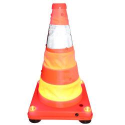 مخروط المرور القابل للطي الآمن على الطرق السريعة مع مصابيح LED
