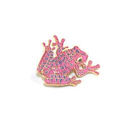 주문 만화 승진 선물을%s 동물성 개구리 반짝임 금속 사기질 접어젖힌 옷깃 Pin