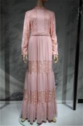Les femmes fashion robe longue robe de mariée Cuffing satin avec dentelle de bras