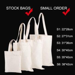 Ecoの標準的で再使用可能な食料雑貨は袋を、リサイクルする綿のショッピング・バッグ、安い学校の肩のブックバッグ、昇進の白い綿のキャンバスのトートバックを運ぶ