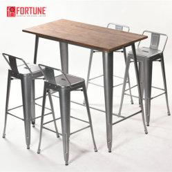 Mobiliário de madeira da estrutura de metal grossista Retro Conjuntos Bistro Bar mesa e cadeira