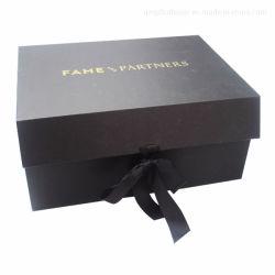 Vêtements de luxe robe de pliage magnétique de l'emballage cadeau avec ruban noir mat