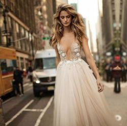 Beiniのサテン白のレースのビードの花嫁のイブニング・ドレスのウェディングドレス