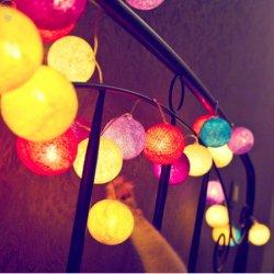Koord van de LEIDENE het Katoenen Bal steekt Openlucht Decoratief van de Lichten van het Koord van de Fee aan