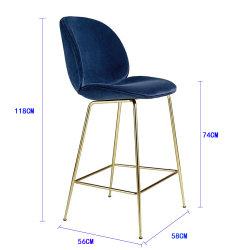Bâti en métal moderne de haute Chaise bar Velvet tabouret