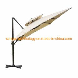 12フィートRectangularのベージュ十字ベースが付いているオフセットの片持梁傘の二重風の出口のテラスのハングの傘によるAbbaのテラス9