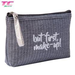 Lienzo de algodón bolsa de cosméticos promocionales con logotipo impreso elegante bolsa de maquillaje