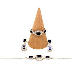 結婚式の方法宝石類のサファイアの石925の純銀製の金の贅沢な宝石類セット