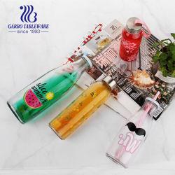 1 litro de color claro mate o el logotipo de la etiqueta de la botella de cristal con tapón bebidas Agua Mineral jugo leche botellas de vidrio 500ml 300 ml 550ml