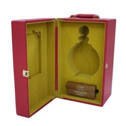 A extremidade alta PU estojo de couro vermelho para o Vinho Madeira Caixas de Acondicionamento para Cognac Whisky Caixa Brandy com pega