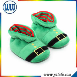 Handmade 양말 경량 편리한 녹색 귀여운 연약한 온난한 자수 유아 아기 지면 단화