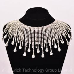 Los halos Rhinestone de vidrio de la cadena de cristal Strass borlas de decoración de bodas a coser en bandas de prendas de vestir guarnecido Necklace DIY