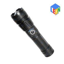 USB عالي القدرة قابل لإعادة الشحن في الهواء الطلق يخيّم يبحث عمل مصباح LED من الألومنيوم ضوء وامض مع وظيفة التكبير والتصغير