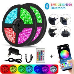 مصابيح LED الشريط الأحمر والأخضر والأزرق (RGB) ضوء شريط الألوان تغيير 5050 SMD Bluetooth Controller شريط الضوء المرن لزينة عيد الميلاد الزفاف المصابيح
