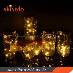 O LED de energia solar String Fairy Star Firefly Mason Jar Decoração Tampa Tabela Luz de Jardim