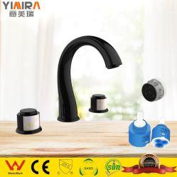 現代的な無光沢の黒い洗面台の水栓3の穴の二重ハンドルの浴室水混合弁