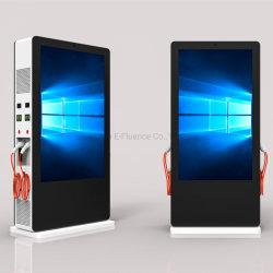 75 pouces écran LCD de plein air, la signalisation numérique, écran LCD de l'écran LCD affichage publicitaire, EV charge l'écran LCD double face avec 4 Juicebox
