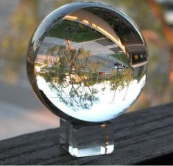 Sfera in cristallo trasparente di grado superiore con supporto di varie dimensioni colore