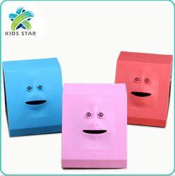 Banheira de vender Funny Face humana Soft Sensor Banco moedas face sorridente Bank Caixa de dinheiro de mastigação robô assustador assustador mealheiro do Robô Eatsmans Dedo Brinquedos