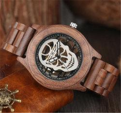 Montre-bracelet mécanique de 2017 hommes creux Steampunk crâne squelette automatique analogique en bois de luxe en bois Cool Montres horloge de l'homme -V194
